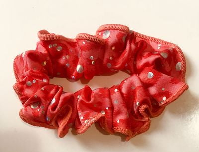 f78b322d9945 Orange and Red Lycra Silver Foil Dots Scrunchy